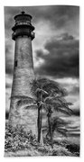 Key Biscayne Fl Lighthouse Black And White Img 7167 Beach Towel