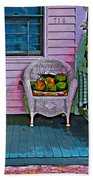 Key West Coconuts - Colorful House Porch Beach Towel