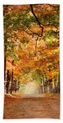 Kid With Backpack Walking In Fall Colors Beach Towel