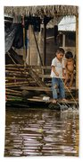 Kids At Play In Shanty Town Beach Towel