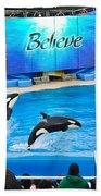 Killer Whales Perform In Shamu Stadium At Seaworld. Beach Towel