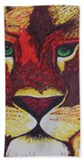 Lion In Orange Beach Towel