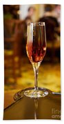 Kir Royale In A Champagne Glass Beach Towel