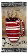 Kitchen Cuisine Hot Cuppa Coffee Cup Mug Latte Drink By Romi And Megan Beach Towel