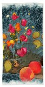 Kitchen - Peaches And Wine Painting  Beach Sheet