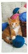 Kitten Playing With Yarn Beach Towel