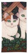 Kittens And Clover Beach Towel
