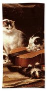 Kittens Playing With A Guitar Beach Towel