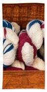 Knitting Yarn In Patriotic Colors Beach Towel