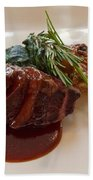 Kobe Beef With Spring Spinach And A Wild Mushroom Bread Pudding Beach Sheet