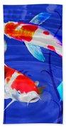 Kohaku Koi In Deep Blue Pool Beach Towel