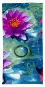 Koi And The Water Lilies Beach Towel