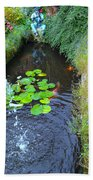 Koi Fountain Beach Towel