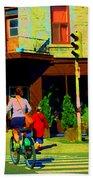 Kusmi Tea And Sandwich Shop St Viateur Corner St Urbain Montreal Summer City Scene  Carole Spandau Beach Towel