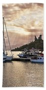 Kyleakin Harbor And Castle Moil Beach Towel