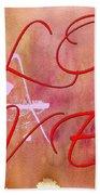 L O V E Script With Heart Beach Towel