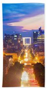 La Defense And Champs Elysees At Sunset In Paris France Beach Towel