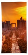 La Defense And Champs Elysees At Sunset Beach Towel