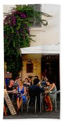 La Dolce Vita At A Cafe In Italy Beach Towel