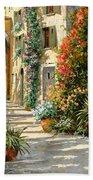 La Porta Rossa Sulla Salita Beach Towel by Guido Borelli