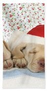 Labrador Puppy Dogs Wearing Christmas Beach Towel