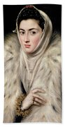 Lady In A Fur Wrap Beach Sheet