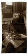 Lady In Early Kitchen Cooking Turkey Dinner 1900 Beach Towel