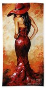 Lady In Red 035 Beach Towel