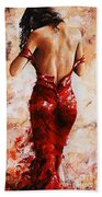 Lady In Red #24 Large  Beach Towel