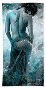 Lady In Red #27 Digital Colored Version Blue Aqua Beach Towel
