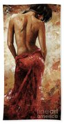 Lady In Red 27 Soft Color Beach Sheet