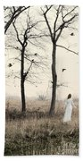 Lady In White In Autumn Landscape Beach Towel