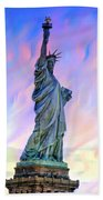 Lady Liberty Blues Beach Towel