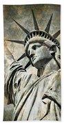 Lady Liberty Vintage Beach Towel