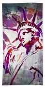 Lady Liberty Watercolor Beach Towel