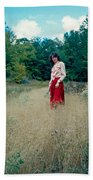 Lady Standing In Grass 2 Beach Towel