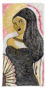 Lady With Fan Beach Towel