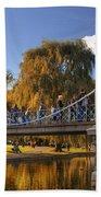 Lagoon Bridge In Autumn Beach Towel by Joann Vitali