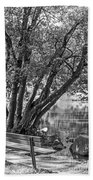 Lake Bench In Black And White Beach Towel