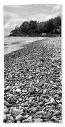 Lake Erie Coast Black And White Beach Towel