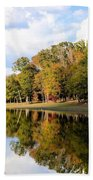 Lake House In Autumn Beach Towel