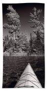 Lake Kayaking Bw Beach Towel
