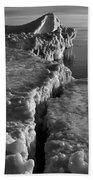 Lake Michigan Ice V Beach Towel
