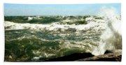 Lake Michigan In An Angry Mood Beach Towel
