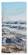 Lake Michigan In Ice Beach Towel