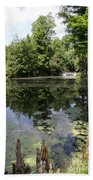 Lake On The Magnolia Plantation With White Bridge Beach Towel