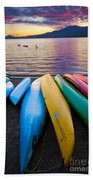 Lake Quinault Kayaks Beach Towel by Inge Johnsson