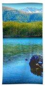Lake View Of Mount Saint Helens  Beach Towel