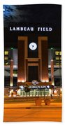 Lambeau Field At Night Beach Towel by Tommy Anderson