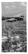 Lancaster City Of Lincoln Over The City Of Lincoln Black And White Beach Towel